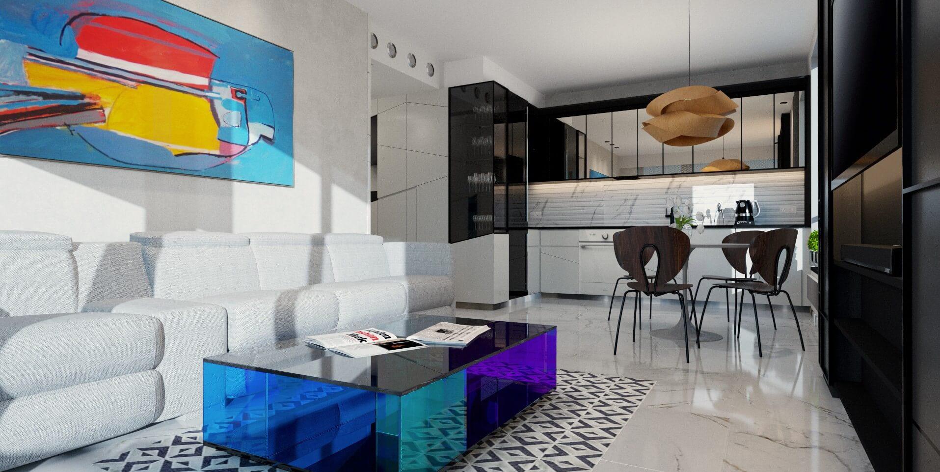 Salon w apartamencie w Sopocie