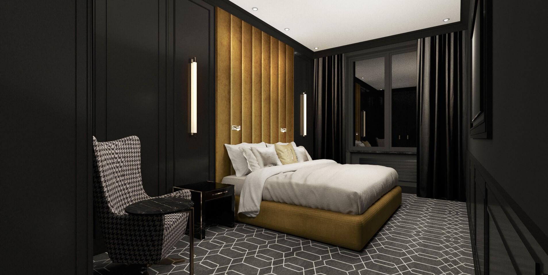 Sypialnia w luksusowym apartamencie w Poznaniu